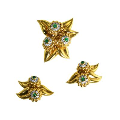 Retro Emerald Diamond Gold and Platinum Suite circa 1940