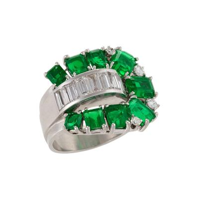 Retro Emerald Diamond and Platinum Buckle Ring