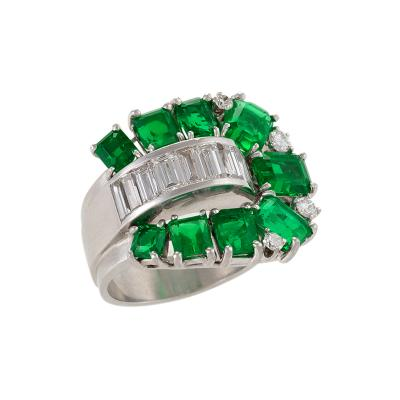 Retro Emerald Diamond and Platinum Ring
