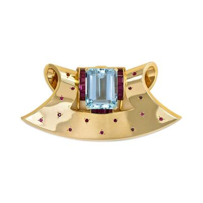 Retro Gold Aquamarine and Ruby Clip Brooch