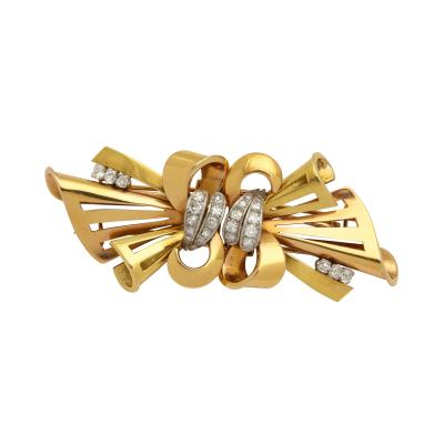 Retro Gold French Bow with Diamond Clip Brooch