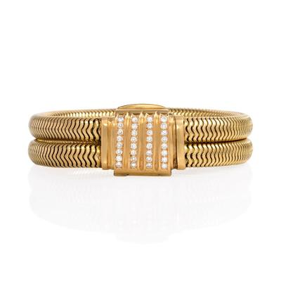 Retro Gold Gaspipe Bracelet with Diamond Set Clasp