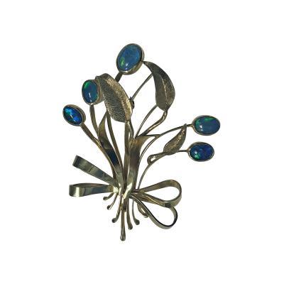 Retro Gold Opal Floral Bouquet Spray Brooch Pin C 1950