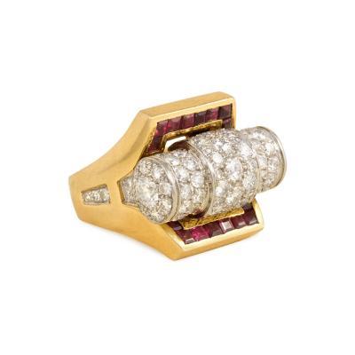 Retro Gold Pav Diamond and Calibr Ruby Ring France