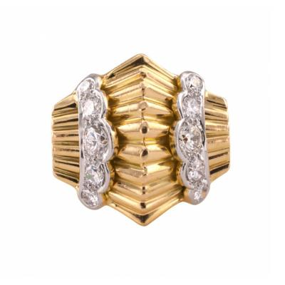 Retro Gold Platinum and Diamond Ring