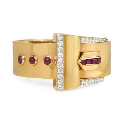 Retro Gold Ruby and Diamond Bangle of Belt Buckle Design