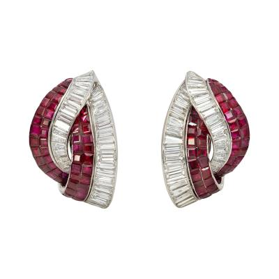 Retro Invisibly Set Ruby and Baguette Diamond Knot Design Clip Earrings