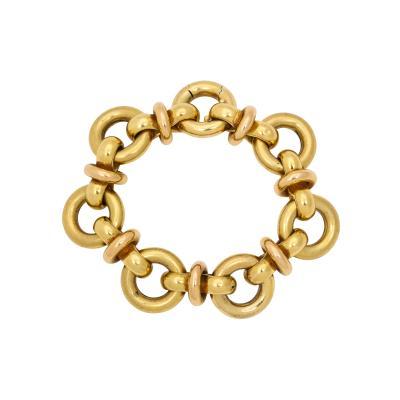 Retro Italian 18 kt Gold Open Link Bracelet