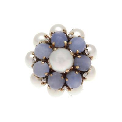 Retro Pearl Sapphire Diamond Gold Ring
