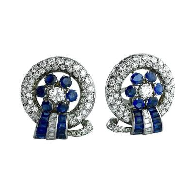 Retro Sapphire Diamond Platinum Earrings