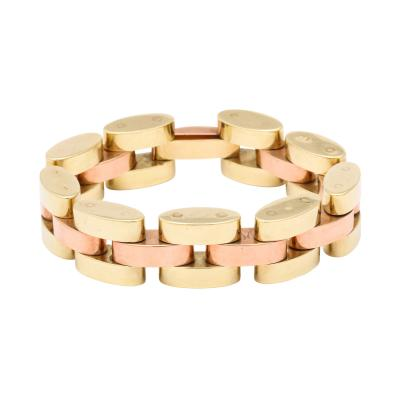 Retro Tank Bracelet in Two Tone 14 kt Gold