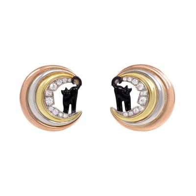 Retro Three Color Gold Enamel and Diamond Cat on the Moon Earrings