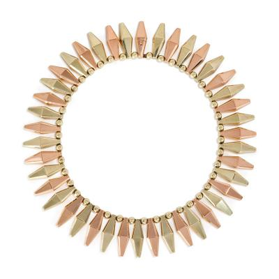 Retro Two Color Gold Faceted Lozenge Shaped Link Fringe Necklace