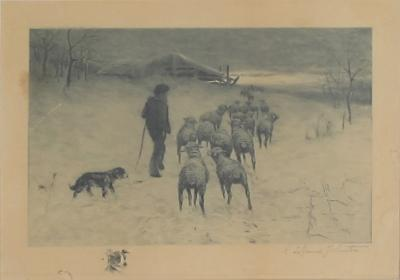 Reuben LeGrande Johnson Henry Pruett Share etching of a wintry pastoral scene R LeGrande Johnston