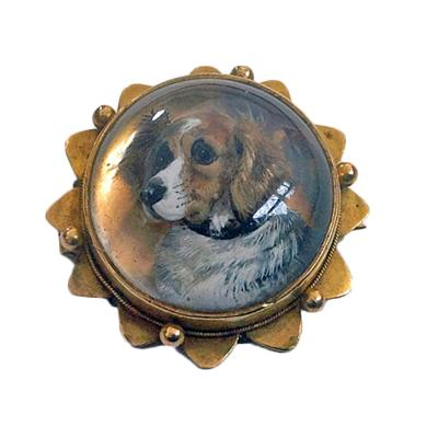 Reverse Intaglio Crystal Essex Crystal Dog Brooch Locket C 1880