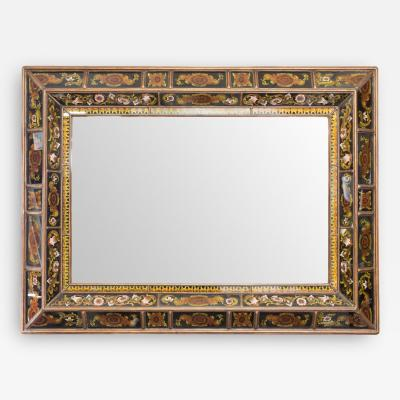 Reverse Painted Glass Frame Beveled Mirror
