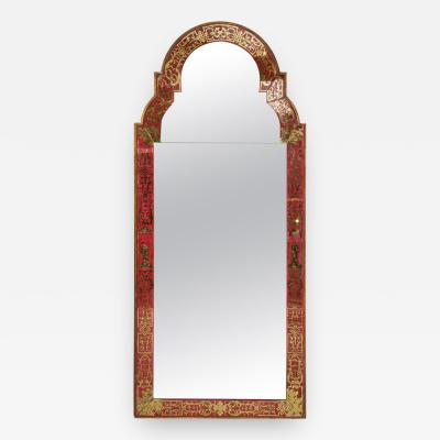 Reverse Painted Verre Eglomise Mirror in the Queen Anne Manner