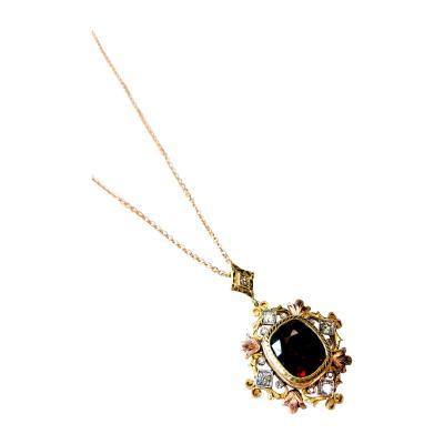 Rhodolite Garnet and Diamond 18 Karat Yellow White and Rose Gold Pendant