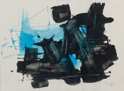 Ricardo Santamaria Abstract Painting in Turquois Black Signed by Ricardo Santamaria 1964