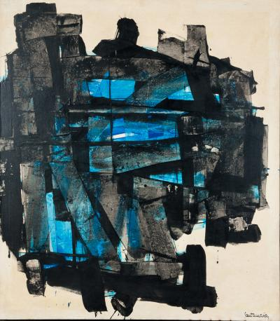 Ricardo Santamaria Impressive Abstract Painting Turquois Black Signed by Ricardo Santamaria
