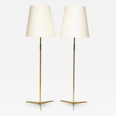 Riccardo Scarpa Pair of Solid Brass Italian Floor Lamps Italy 1950s