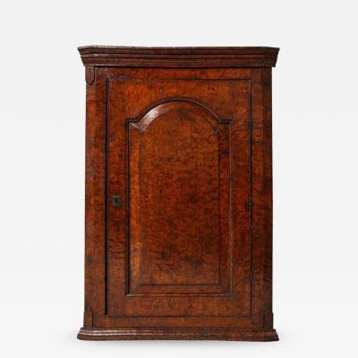 Rich Burl Wood Corner Cupboard