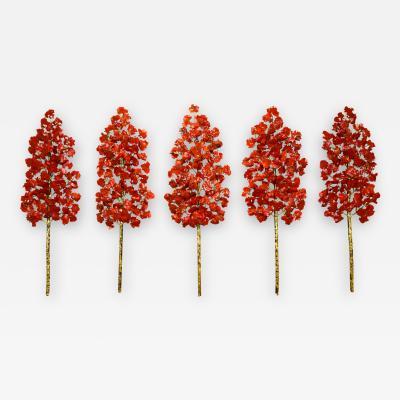 Richard B Smith Aspen Grove 5 pc 5 stem translucent red