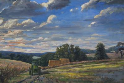 Richard Barnard Chalfant Green Tractor Oil on Canvas by Richard Chalfant