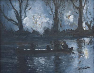 Richard Barnard Chalfant Oil on Panel Entitled Drifting in the Shadows