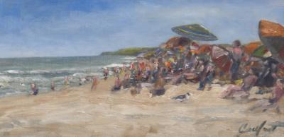 Richard Barnard Chalfant People Watching Oil on Panel by Richard Chalfant