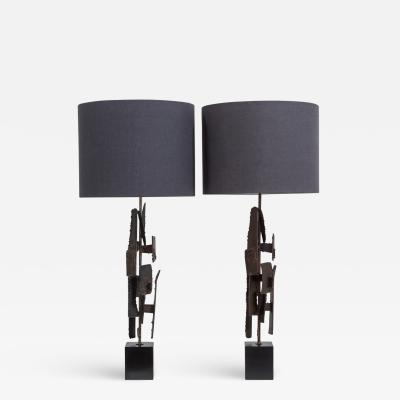 Richard Barr Pair of Brutal Richard Barr designed Table Lamps circa 1965