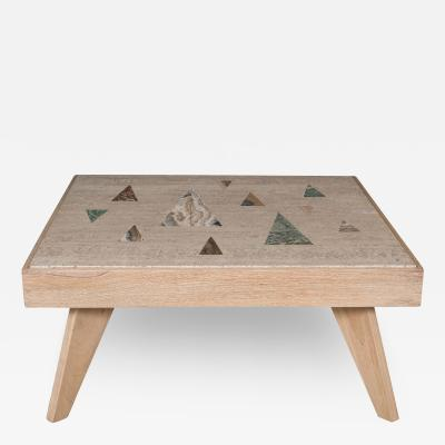 Richard Blow A Richard Blow for Montici Inlayed Travertine Coffee Table 1950s