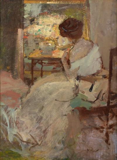 Richard Edward Miller Woman in a White Dress Lady in a White Evening Gown