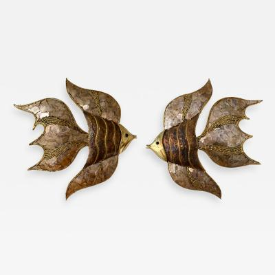 Richard Esabelle Faure Pair of Brass Fish Sconces by Richard Faure for Maison Honor France 1980s
