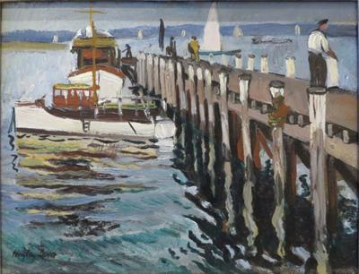 Richard Hayley Lever Fishing Boats at Dock