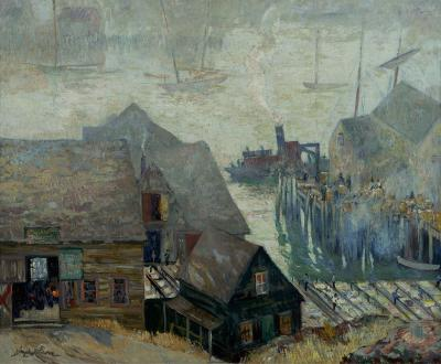 Richard Hayley Lever Gloucester Rooftops and Harbor