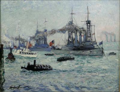Richard Hayley Lever U S Battleships Down the Hudson 1912 Presidential Naval Review