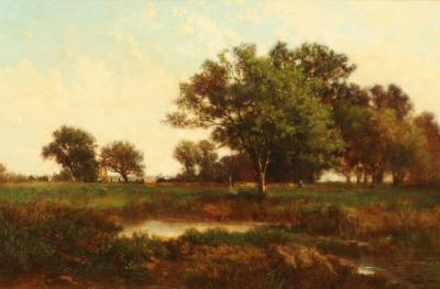 Richard Henry Fuller LANDSCAPE VIEW OF TREES IN A MEADOW