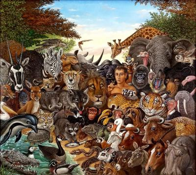 Richard Hess Animal Kingdom Zebra Buffalo Lion Giraffe Elephant Monkey Tiger Gorilla