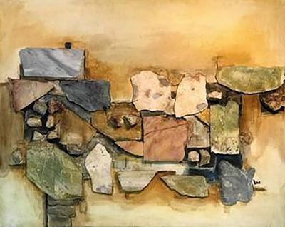Richard Lee Monumental Assorted Natural Stone and Paint Mural on Wood Signed Lee