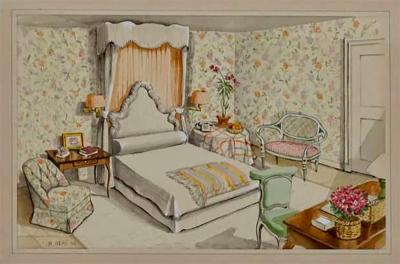 Richard Lowell Neas Interior Watercolor by Designer Richard Lowell Neas