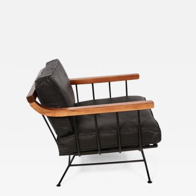 Richard McCarthy Richard McCarthy for Selrite Wrought Iron Elm and Black Leather Lounge Chair