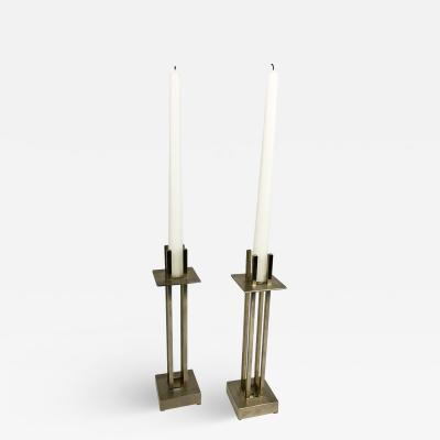 Richard Meier Nan Swid Design Stainless Steel Candlesticks
