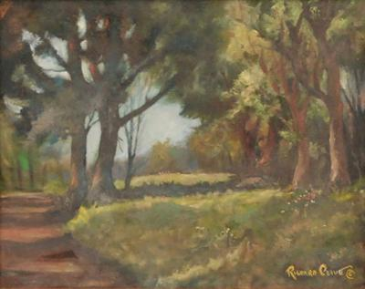 Richard R Clive Sunny Sunday New York Artist Richard Clive Signed Oil Landscape Painting