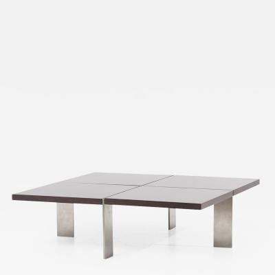 Richard Schultz Architectural 1960s Coffee Table in Steel and Wood Germany 1960s