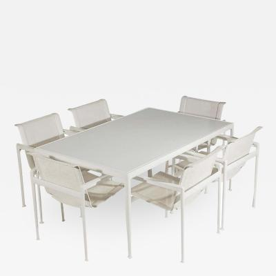 Richard Schultz Mid Century Modern White Patio Chairs and Table Set by Richard Schultz for Knoll