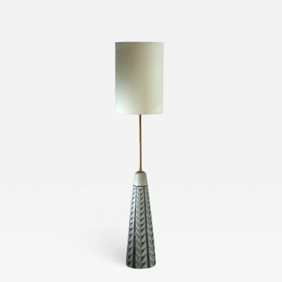 Rigmor Nielsen Rigmor Nielsen floor lamp with blue motif Denmark 1960s
