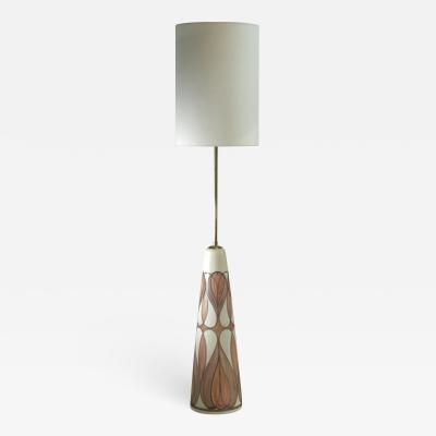 Rigmor Nielsen Rigmor Nielsen floor lamp with brown motif Denmark 1960s