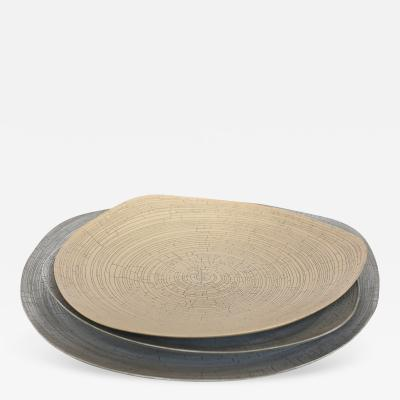 Rina Menardi Rina Menardi Handmade Ceramic Crackled Triangular Platters