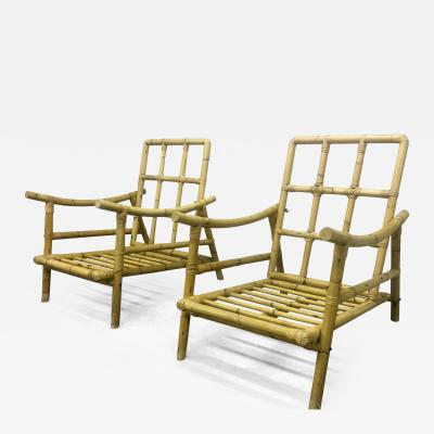 Riviera Style Superb Pair of Bamboo Lounge Chairs